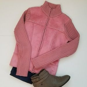 Tops - Pink Faux Shearling & Suede jacket zip up XS
